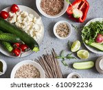 vegetarian food set. zucchini ... | Shutterstock . vector #610092236