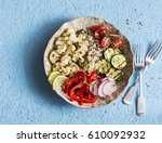 roasted cauliflower and quinoa... | Shutterstock . vector #610092932