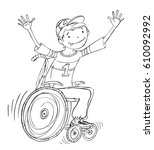 boy in the wheel chair during... | Shutterstock .eps vector #610092992