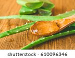 aloe vera gel on wooden spoon...   Shutterstock . vector #610096346