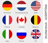 circle flags icon or badges set.... | Shutterstock .eps vector #610097066