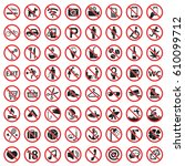 prohibited icon set | Shutterstock .eps vector #610099712