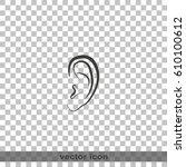 ear flat icon. | Shutterstock .eps vector #610100612