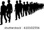 full length of silhouette... | Shutterstock .eps vector #610102556