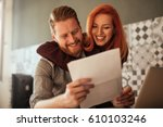 shot of a young couple... | Shutterstock . vector #610103246