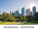 park and modern cityscape with... | Shutterstock . vector #610103456