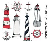 hand drawn vintage nautical... | Shutterstock . vector #610104362