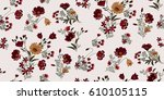 seamless floral pattern in... | Shutterstock .eps vector #610105115
