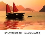 Junk Boat At Sunset In Halong...