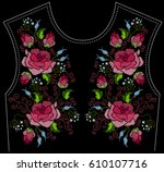 ethnic embroidery pink rose... | Shutterstock .eps vector #610107716
