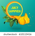 orange juice concept... | Shutterstock .eps vector #610113416