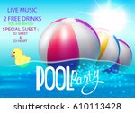 pool party poster with... | Shutterstock .eps vector #610113428