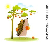 farm hedgehog near apple tree... | Shutterstock .eps vector #610113485
