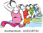 group of people yoga stretching ... | Shutterstock .eps vector #610118732