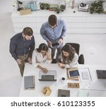 group of managers doing... | Shutterstock . vector #610123355