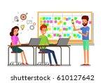 cartoon scrum master. a man is... | Shutterstock .eps vector #610127642