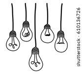 light bulbs hanging icon ... | Shutterstock .eps vector #610136726