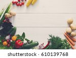 fresh vegetables on white wood... | Shutterstock . vector #610139768