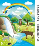 summer nature and cute animals. | Shutterstock .eps vector #610140998