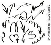 hand drawn arrows. vector set | Shutterstock .eps vector #610142582