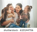 happy father's day  two... | Shutterstock . vector #610144706