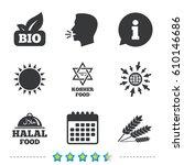 natural bio food icons. halal... | Shutterstock .eps vector #610146686