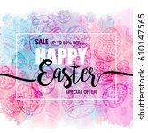 poster happy easter sales with... | Shutterstock .eps vector #610147565