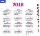 german calendar 2018 ... | Shutterstock .eps vector #610148858