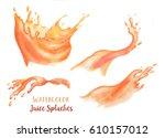 hand drawn watercolor splashes... | Shutterstock . vector #610157012