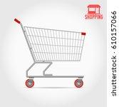 empty supermarket shopping cart ... | Shutterstock .eps vector #610157066