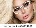 portrait beauty blonde female... | Shutterstock . vector #610159892