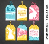 set of price tags for easter.... | Shutterstock .eps vector #610165406