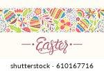 easter seamless ornament line... | Shutterstock . vector #610167716