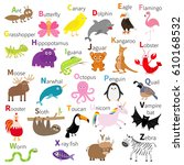 zoo animal alphabet. cute... | Shutterstock .eps vector #610168532