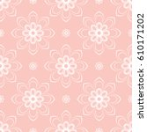 floral vector pink and white... | Shutterstock .eps vector #610171202