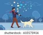 man walking outdoors with dog... | Shutterstock . vector #610173416