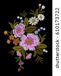 embroidery colorful floral... | Shutterstock .eps vector #610173722