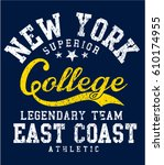 new york athletic typography  t ... | Shutterstock .eps vector #610174955