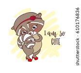 cute little racoon girl in red... | Shutterstock .eps vector #610176836
