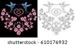 embroidery hummingbird and... | Shutterstock .eps vector #610176932