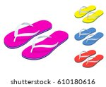 isometric slippers set of... | Shutterstock .eps vector #610180616