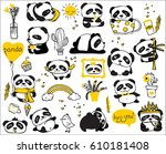 panda doodle kid set. simple... | Shutterstock .eps vector #610181408