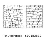 Texture of stones. Stone wall from blocks set vector - stock vector