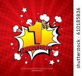 1st anniversary emblem. one... | Shutterstock .eps vector #610185836