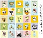 big set of vector kid's cards...   Shutterstock .eps vector #610187648
