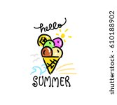 ice cream hand drawn | Shutterstock .eps vector #610188902