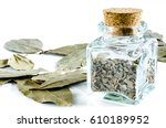 Dry Crushed Bay Leaf In Glass...