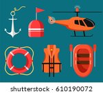 marine icon set of sea safety ... | Shutterstock .eps vector #610190072