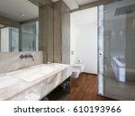 modern bathroom with marble and ... | Shutterstock . vector #610193966