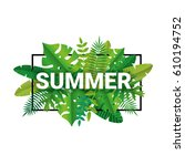 tropical summer time paper... | Shutterstock .eps vector #610194752